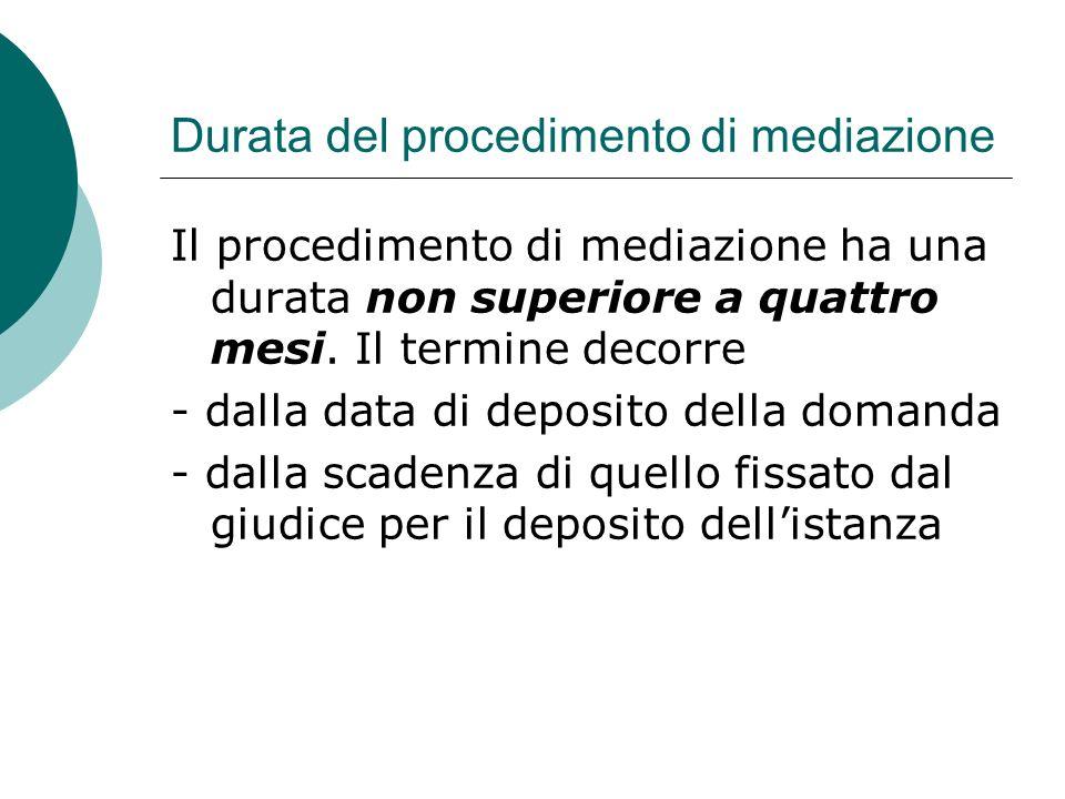 Durata del procedimento di mediazione Il procedimento di mediazione ha una durata non superiore a quattro mesi.