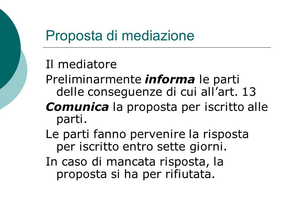 Proposta di mediazione Il mediatore Preliminarmente informa le parti delle conseguenze di cui allart.