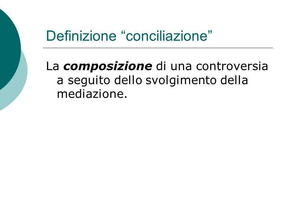 Definizione conciliazione La composizione di una controversia a seguito dello svolgimento della mediazione.