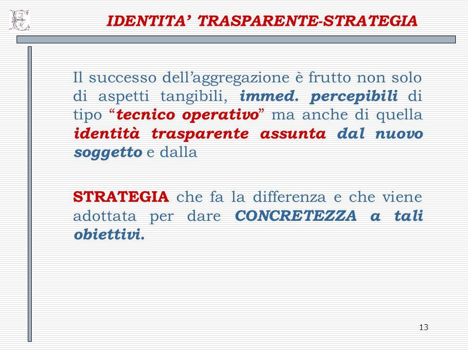 13 IDENTITA TRASPARENTE-STRATEGIA Il successo dellaggregazione è frutto non solo di aspetti tangibili, immed. percepibili di tipo tecnico operativo ma