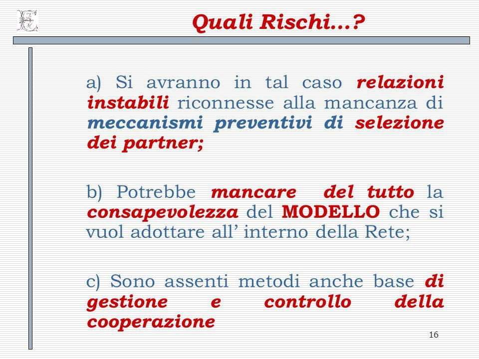 16 Quali Rischi…? a) Si avranno in tal caso relazioni instabili riconnesse alla mancanza di meccanismi preventivi di selezione dei partner; b) Potrebb