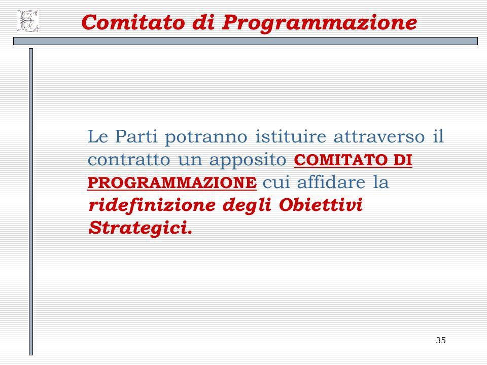 35 Comitato di Programmazione Le Parti potranno istituire attraverso il contratto un apposito COMITATO DI PROGRAMMAZIONE cui affidare la ridefinizione