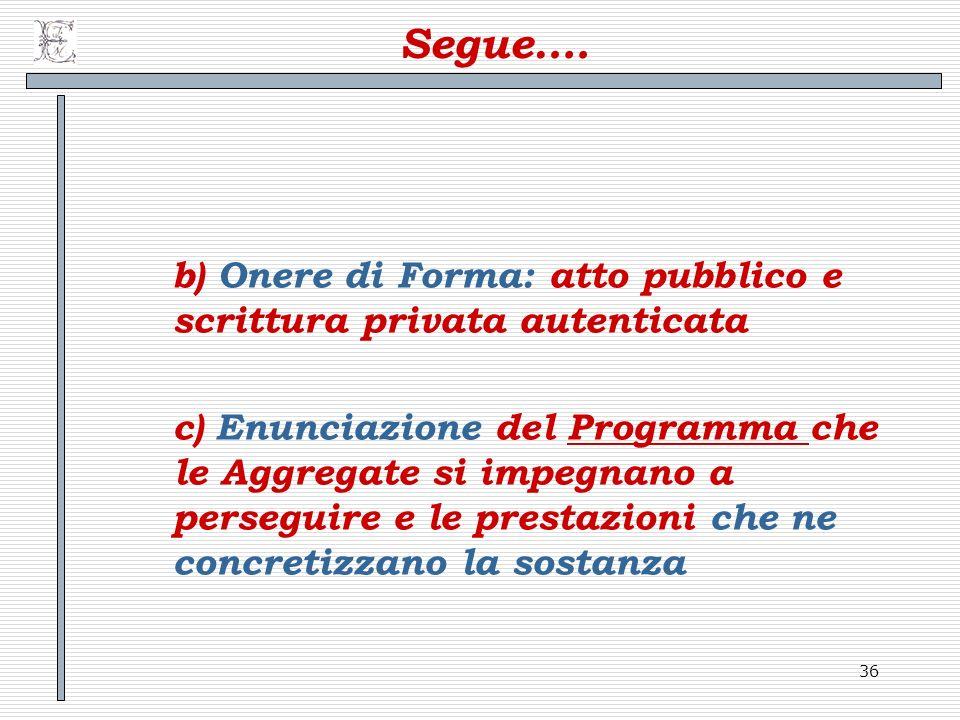36 Segue…. b) Onere di Forma: atto pubblico e scrittura privata autenticata c) Enunciazione del Programma che le Aggregate si impegnano a perseguire e