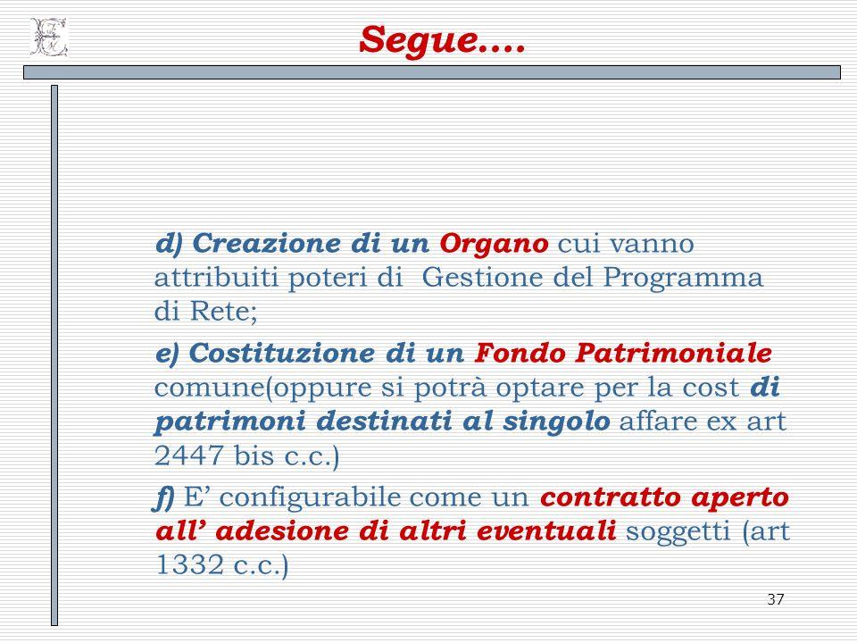 37 Segue…. d) Creazione di un Organo cui vanno attribuiti poteri di Gestione del Programma di Rete; e) Costituzione di un Fondo Patrimoniale comune(op