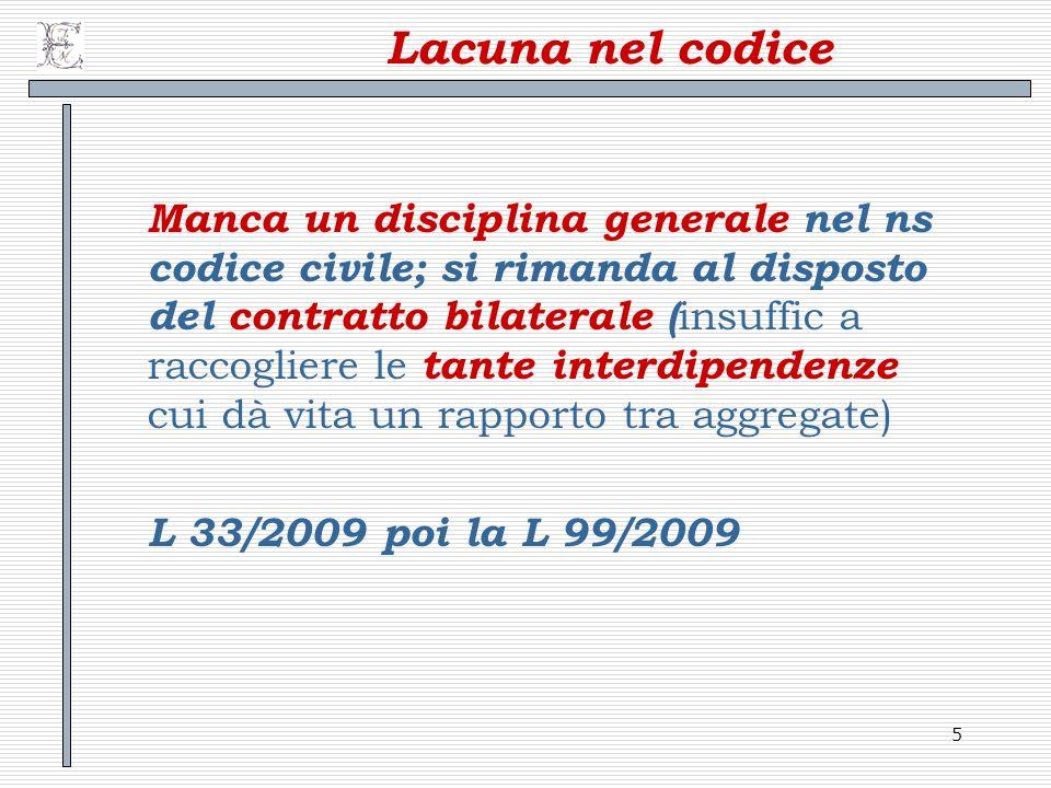 5 Lacuna nel codice Manca un disciplina generale nel ns codice civile; si rimanda al disposto del contratto bilaterale ( insuffic a raccogliere le tan