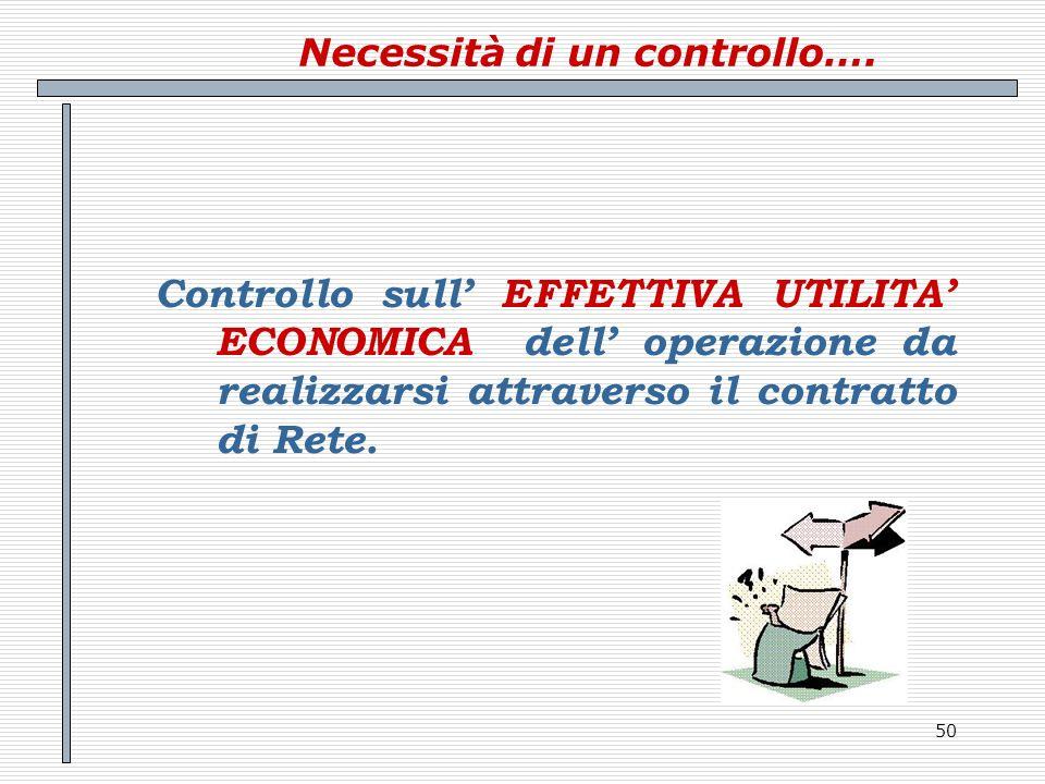 50 Necessità di un controllo…. Controllo sull EFFETTIVA UTILITA ECONOMICA dell operazione da realizzarsi attraverso il contratto di Rete.