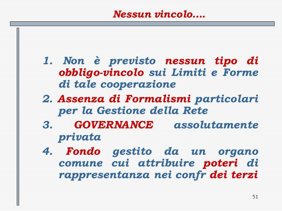51 Nessun vincolo…. 1. Non è previsto nessun tipo di obbligo-vincolo sui Limiti e Forme di tale cooperazione 2. Assenza di Formalismi particolari per