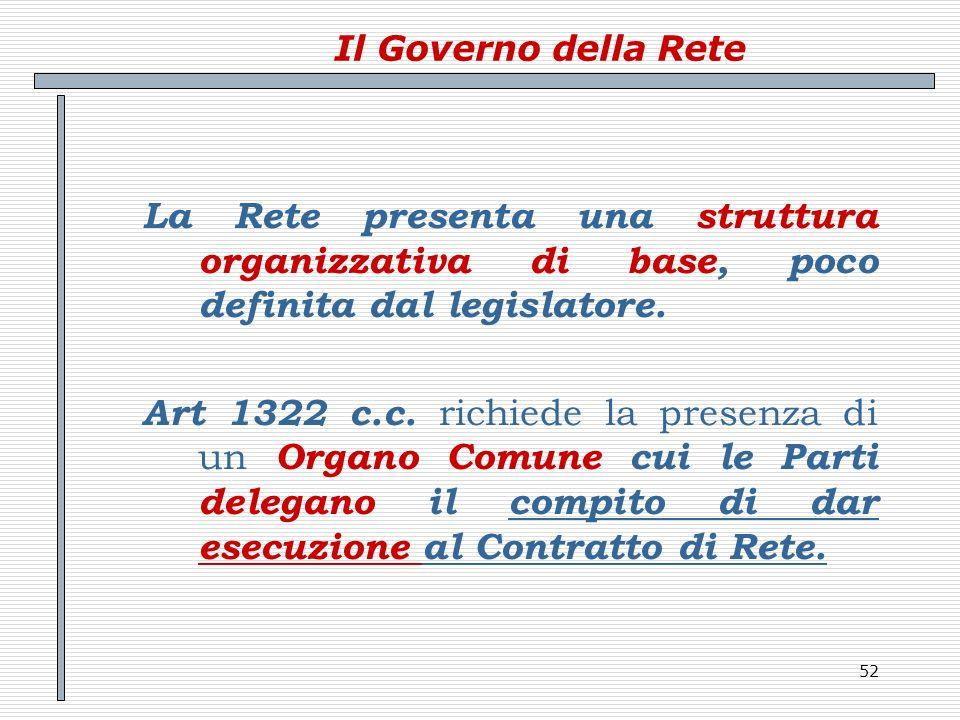 52 Il Governo della Rete La Rete presenta una struttura organizzativa di base, poco definita dal legislatore. Art 1322 c.c. richiede la presenza di un