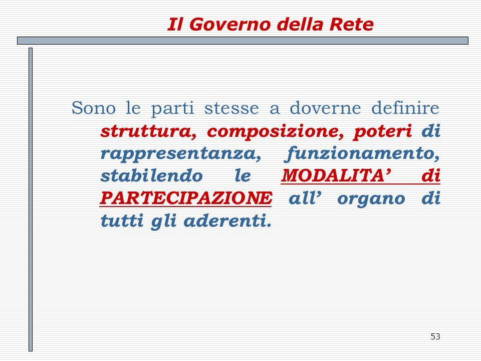 53 Il Governo della Rete Sono le parti stesse a doverne definire struttura, composizione, poteri di rappresentanza, funzionamento, stabilendo le MODAL