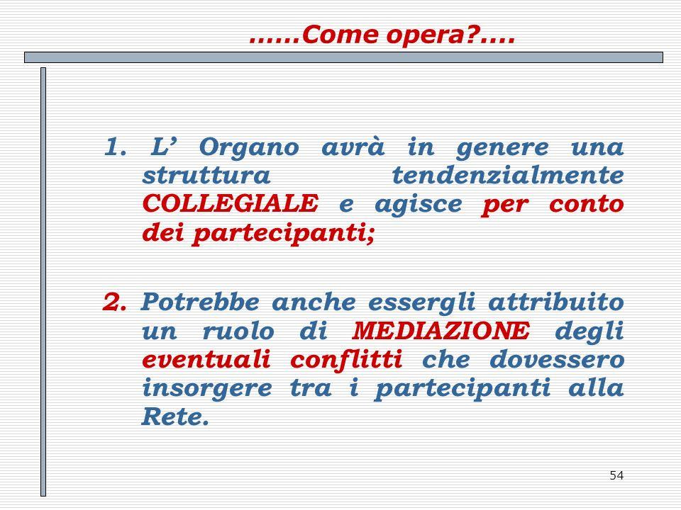 54 ……Come opera?.... 1. L Organo avrà in genere una struttura tendenzialmente COLLEGIALE e agisce per conto dei partecipanti; 2. Potrebbe anche esserg