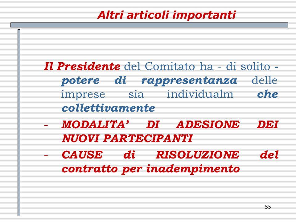 55 Altri articoli importanti Il Presidente del Comitato ha - di solito - potere di rappresentanza delle imprese sia individualm che collettivamente -