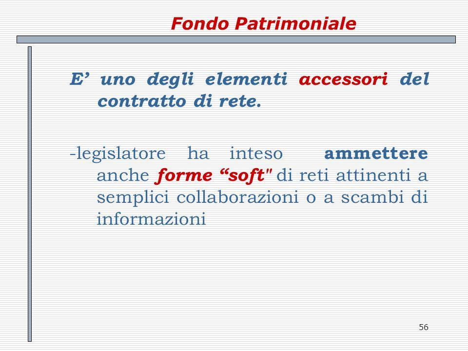 56 Fondo Patrimoniale E uno degli elementi accessori del contratto di rete. -legislatore ha inteso ammettere anche forme soft