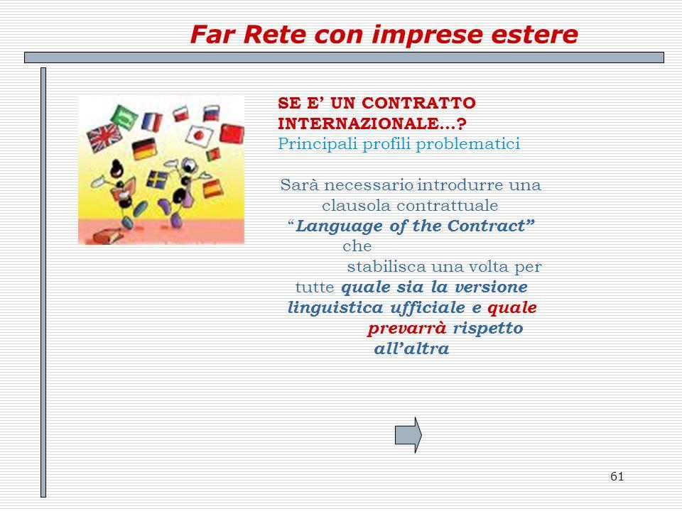 61 Far Rete con imprese estere SE E UN CONTRATTO INTERNAZIONALE…? Principali profili problematici Sarà necessario introdurre una clausola contrattuale