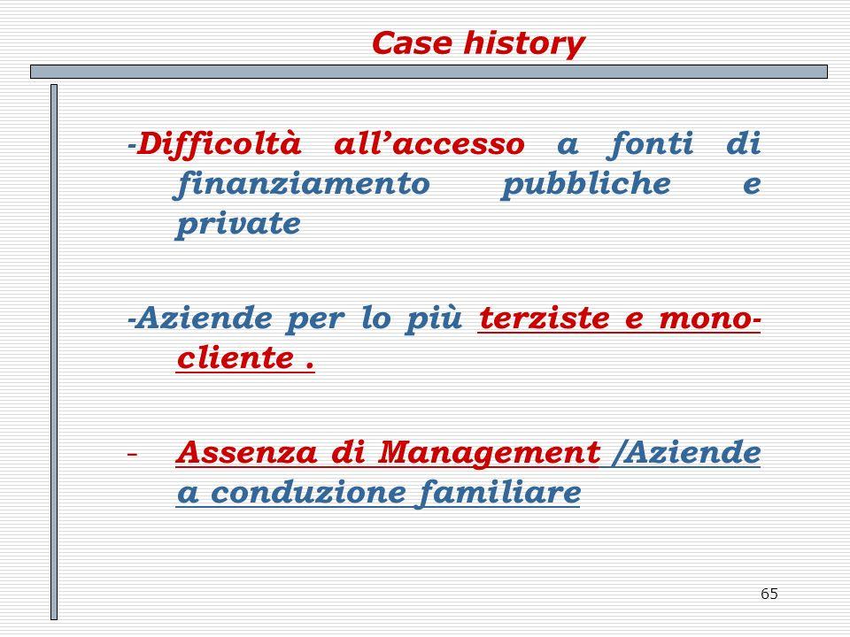 65 Case history -Difficoltà allaccesso a fonti di finanziamento pubbliche e private -Aziende per lo più terziste e mono- cliente. - Assenza di Managem