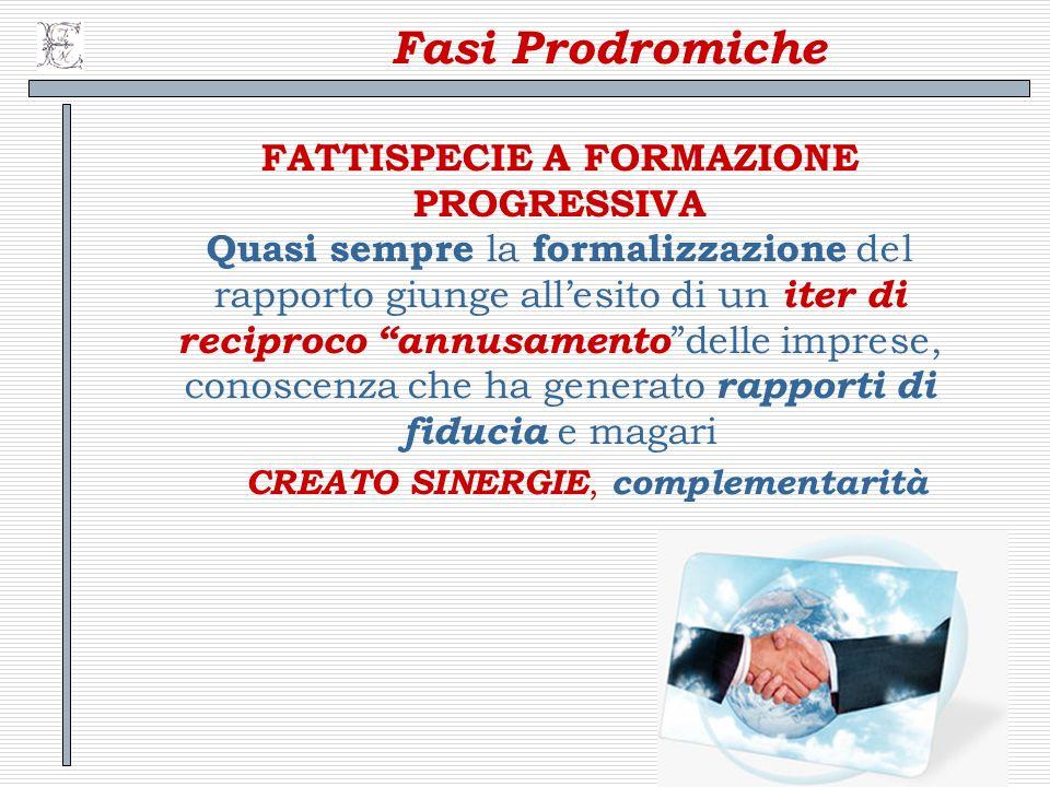 7 Fasi Prodromiche FATTISPECIE A FORMAZIONE PROGRESSIVA Quasi sempre la formalizzazione del rapporto giunge allesito di un iter di reciproco annusamen