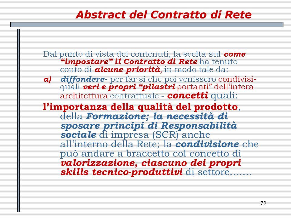 72 Abstract del Contratto di Rete Dal punto di vista dei contenuti, la scelta sul come impostare il Contratto di Rete ha tenuto conto di alcune priori