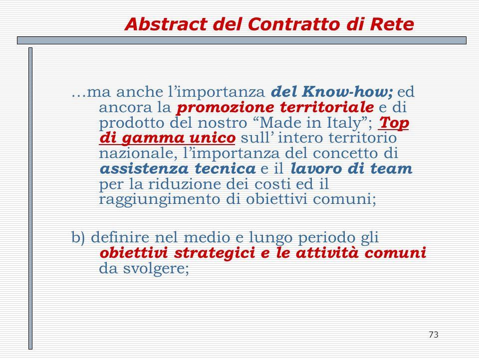 73 Abstract del Contratto di Rete …ma anche limportanza del Know-how; ed ancora la promozione territoriale e di prodotto del nostro Made in Italy; Top