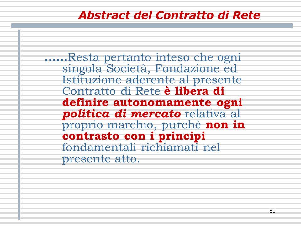 80 Abstract del Contratto di Rete …… Resta pertanto inteso che ogni singola Società, Fondazione ed Istituzione aderente al presente Contratto di Rete