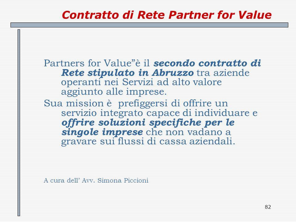 82 Contratto di Rete Partner for Value Partners for Valueè il secondo contratto di Rete stipulato in Abruzzo tra aziende operanti nei Servizi ad alto