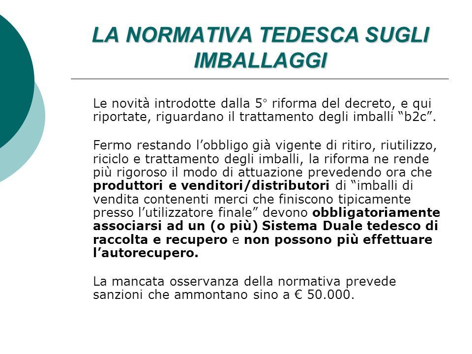 LA NORMATIVA TEDESCA SUGLI IMBALLAGGI Le novità introdotte dalla 5° riforma del decreto, e qui riportate, riguardano il trattamento degli imballi b2c.