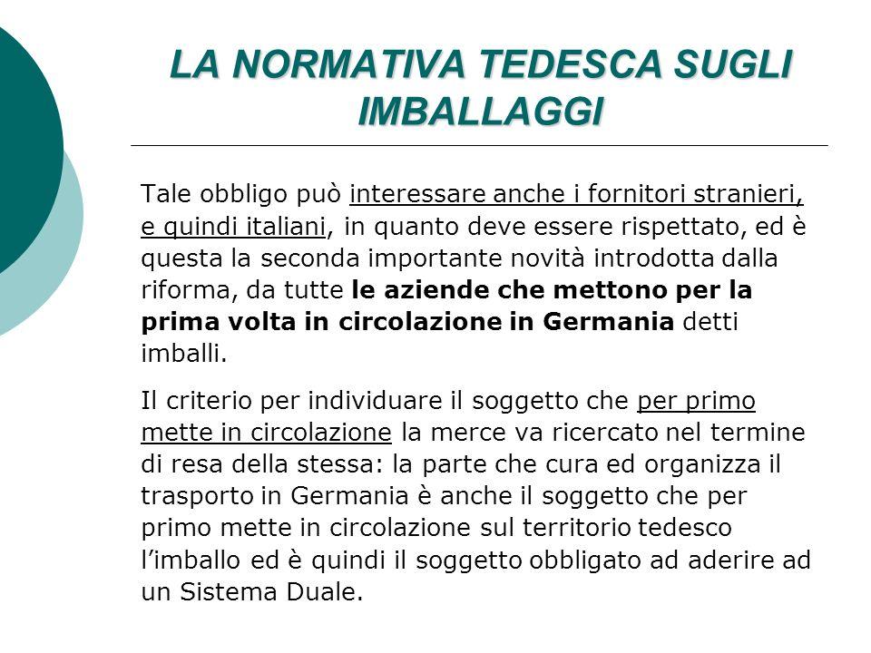 LA NORMATIVA TEDESCA SUGLI IMBALLAGGI Tale obbligo può interessare anche i fornitori stranieri, e quindi italiani, in quanto deve essere rispettato, ed è questa la seconda importante novità introdotta dalla riforma, da tutte le aziende che mettono per la prima volta in circolazione in Germania detti imballi.