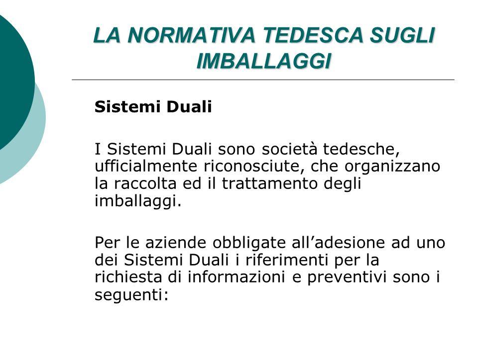 LA NORMATIVA TEDESCA SUGLI IMBALLAGGI Sistemi Duali I Sistemi Duali sono società tedesche, ufficialmente riconosciute, che organizzano la raccolta ed il trattamento degli imballaggi.