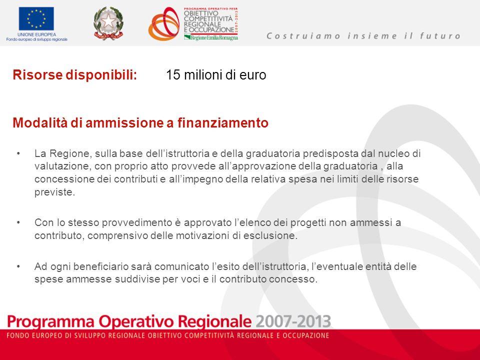 Risorse disponibili: 15 milioni di euro Modalità di ammissione a finanziamento La Regione, sulla base dellistruttoria e della graduatoria predisposta