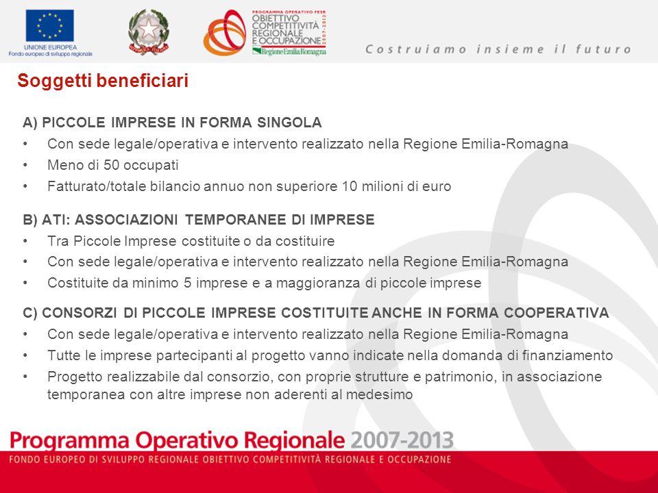 Soggetti beneficiari A) PICCOLE IMPRESE IN FORMA SINGOLA Con sede legale/operativa e intervento realizzato nella Regione Emilia-Romagna Meno di 50 occ