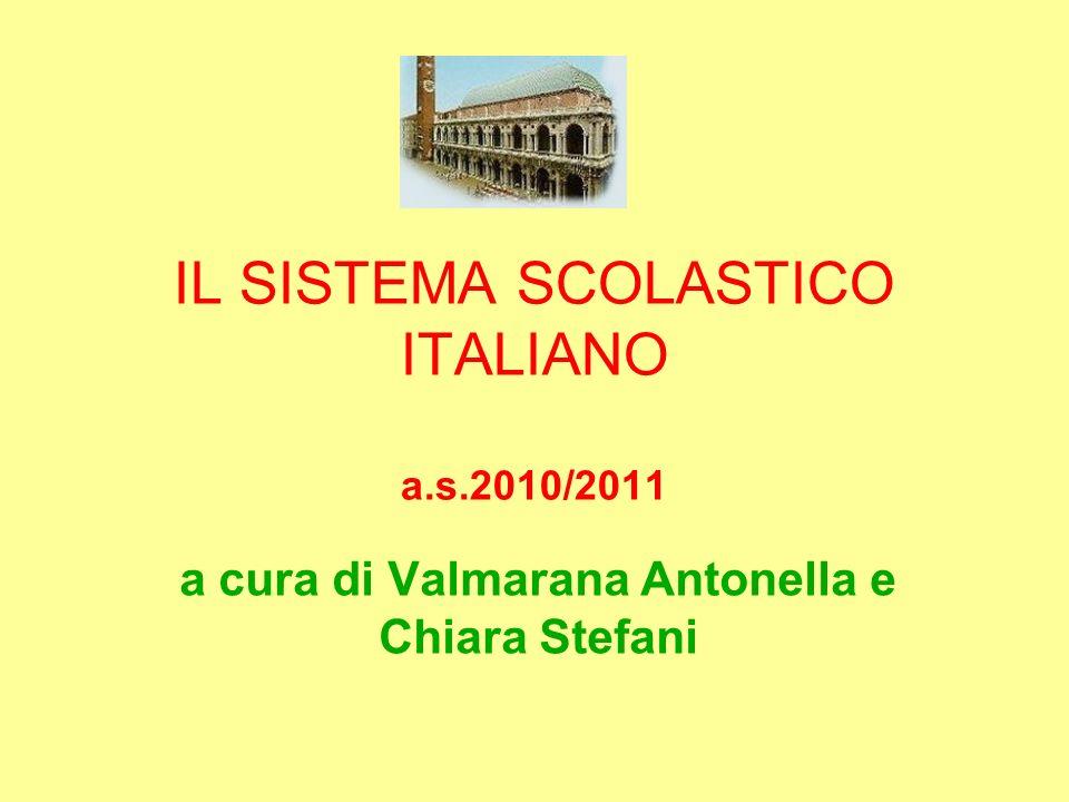 IL SISTEMA SCOLASTICO ITALIANO a.s.2010/2011 a cura di Valmarana Antonella e Chiara Stefani
