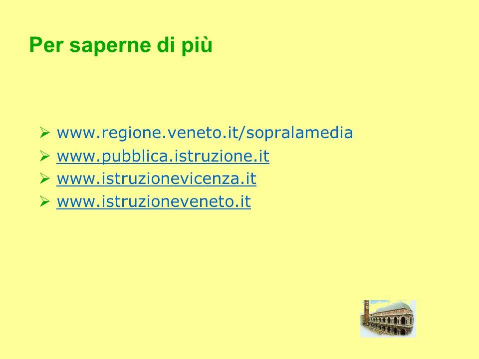 Per saperne di più www.regione.veneto.it/sopralamedia www.pubblica.istruzione.it www.istruzionevicenza.it www.istruzioneveneto.it