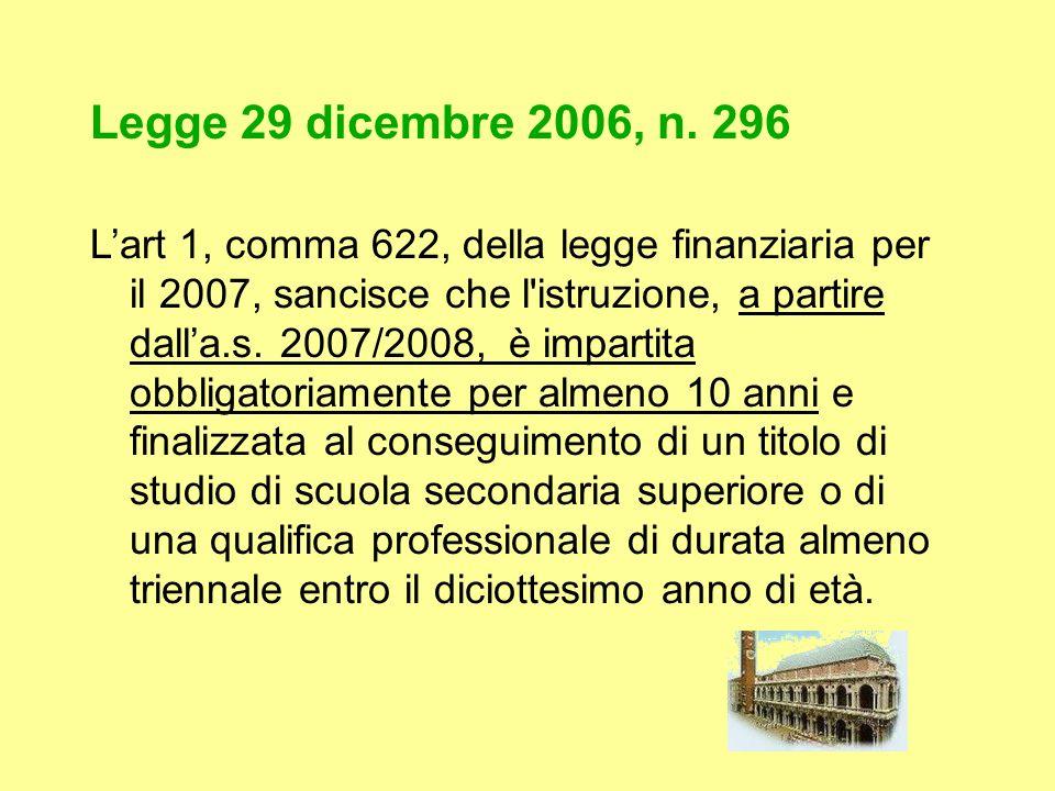Legge 29 dicembre 2006, n. 296 Lart 1, comma 622, della legge finanziaria per il 2007, sancisce che l'istruzione, a partire dalla.s. 2007/2008, è impa
