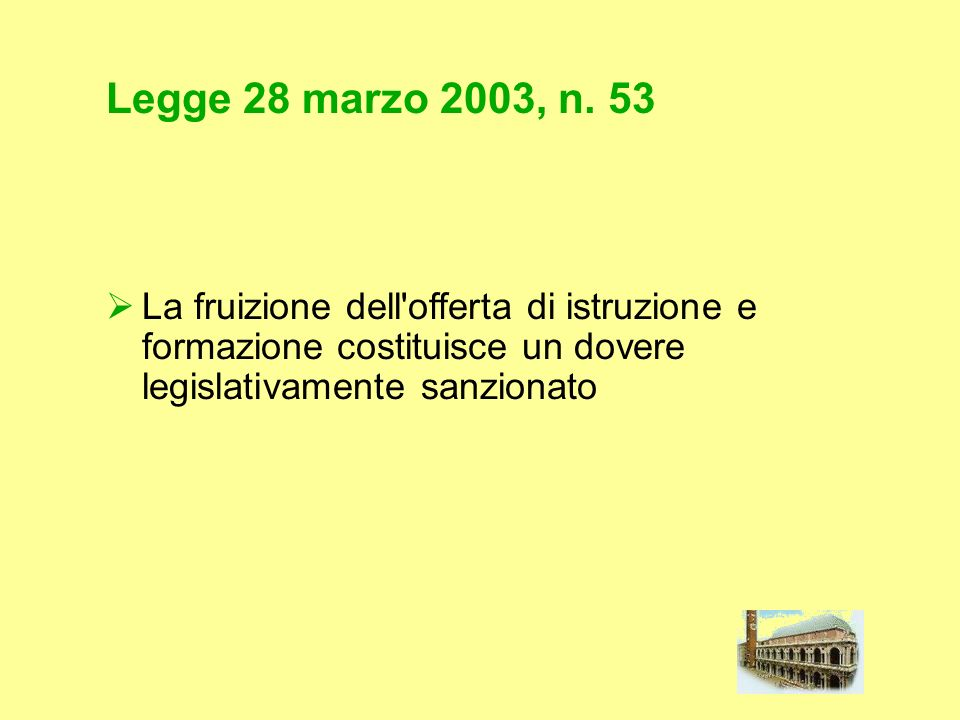Legge 28 marzo 2003, n. 53 La fruizione dell'offerta di istruzione e formazione costituisce un dovere legislativamente sanzionato