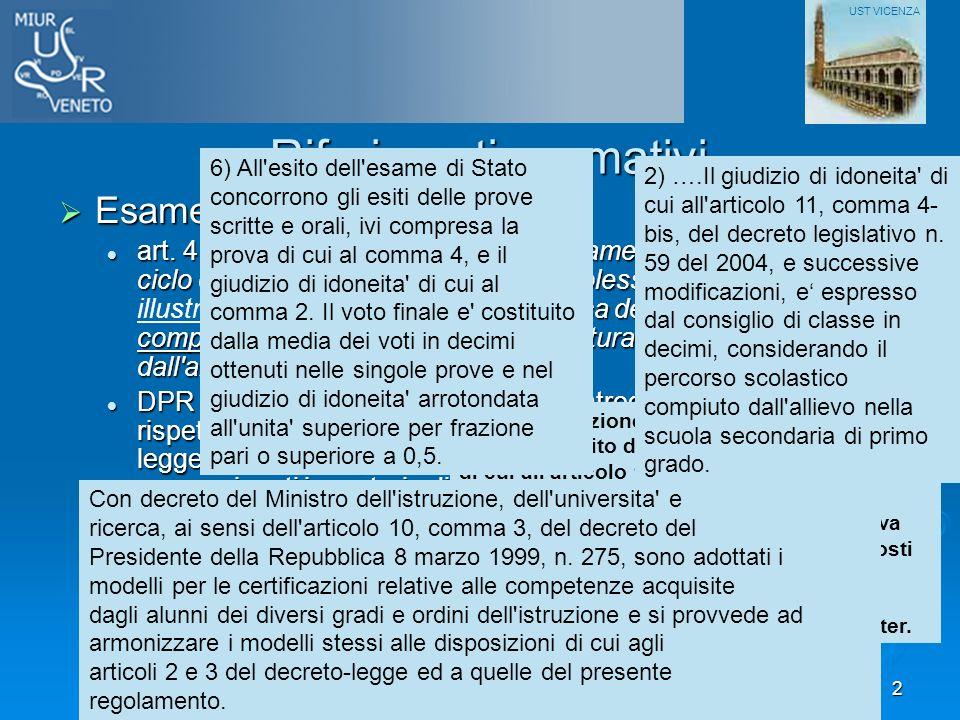 Corso Formazione Presidenti esame I ciclo - Vicenza 26 maggio 20112 Riferimenti normativi Esame di Stato del I ciclo: Esame di Stato del I ciclo: art.