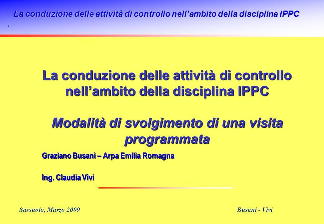 La conduzione delle attività di controllo nellambito della disciplina IPPC Sassuolo, Marzo 2009 Busani - Vivi La conduzione delle attività di controll