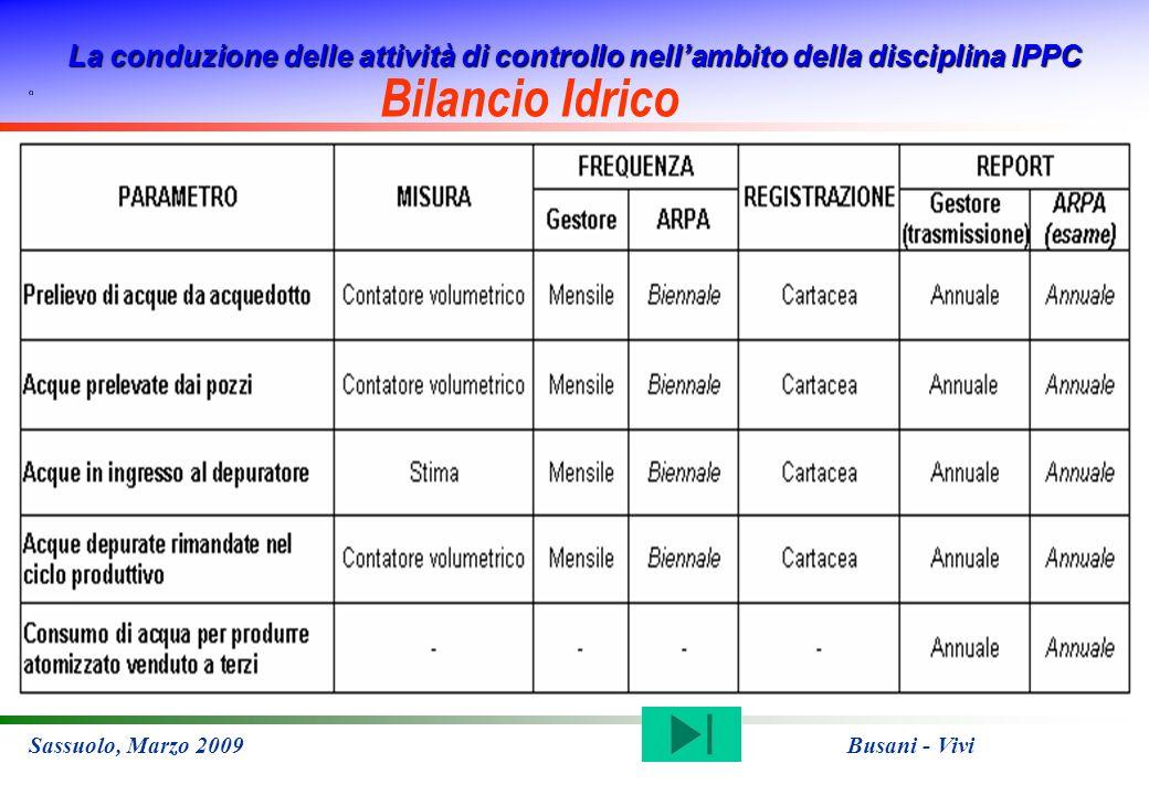 La conduzione delle attività di controllo nellambito della disciplina IPPC Sassuolo, Marzo 2009 Busani - Vivi Bilancio Idrico