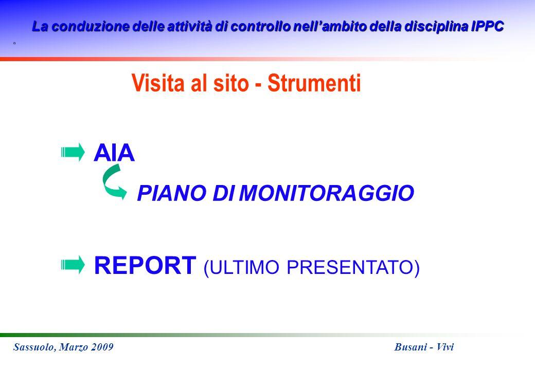 La conduzione delle attività di controllo nellambito della disciplina IPPC Sassuolo, Marzo 2009 Busani - Vivi REPORT (ULTIMO PRESENTATO) AIA PIANO DI MONITORAGGIO Visita al sito - Strumenti