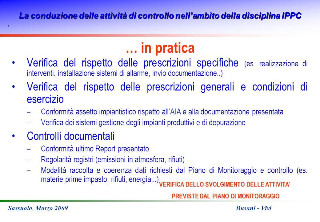 La conduzione delle attività di controllo nellambito della disciplina IPPC Sassuolo, Marzo 2009 Busani - Vivi … in pratica Verifica del rispetto delle prescrizioni specifiche (es.