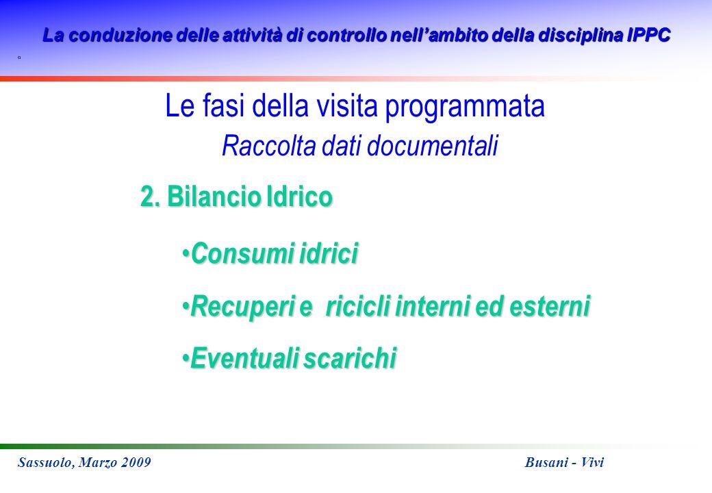 La conduzione delle attività di controllo nellambito della disciplina IPPC Sassuolo, Marzo 2009 Busani - Vivi 2. Bilancio Idrico Consumi idrici Consum