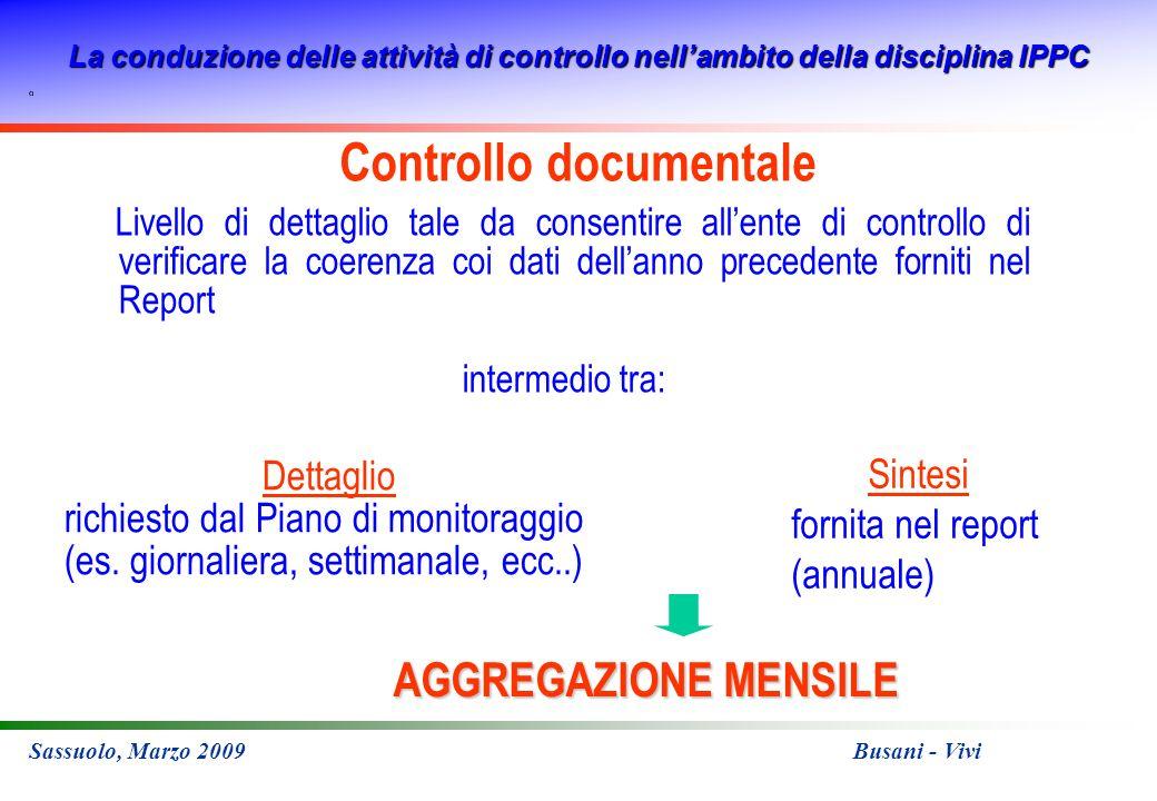 La conduzione delle attività di controllo nellambito della disciplina IPPC Sassuolo, Marzo 2009 Busani - Vivi Controllo documentale Livello di dettagl