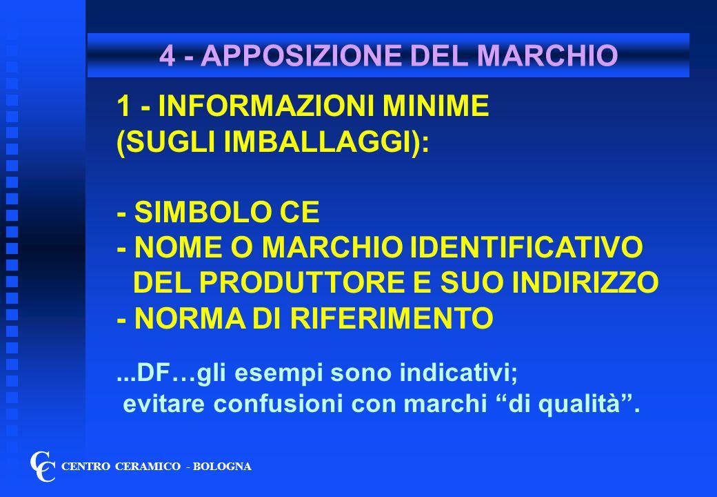 4 - APPOSIZIONE DEL MARCHIO C C CENTRO CERAMICO - BOLOGNA 1 - INFORMAZIONI MINIME (SUGLI IMBALLAGGI): - SIMBOLO CE - NOME O MARCHIO IDENTIFICATIVO DEL PRODUTTORE E SUO INDIRIZZO - NORMA DI RIFERIMENTO...DF…gli esempi sono indicativi; evitare confusioni con marchi di qualità.