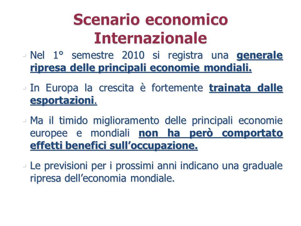Nel 1° semestre 2010 si registra una generale ripresa delle principali economie mondiali. Nel 1° semestre 2010 si registra una generale ripresa delle