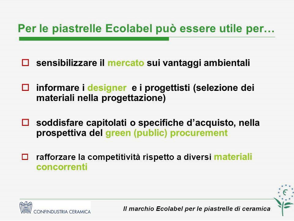 Il marchio Ecolabel per le piastrelle di ceramica sensibilizzare il mercato sui vantaggi ambientali informare i designer e i progettisti (selezione de