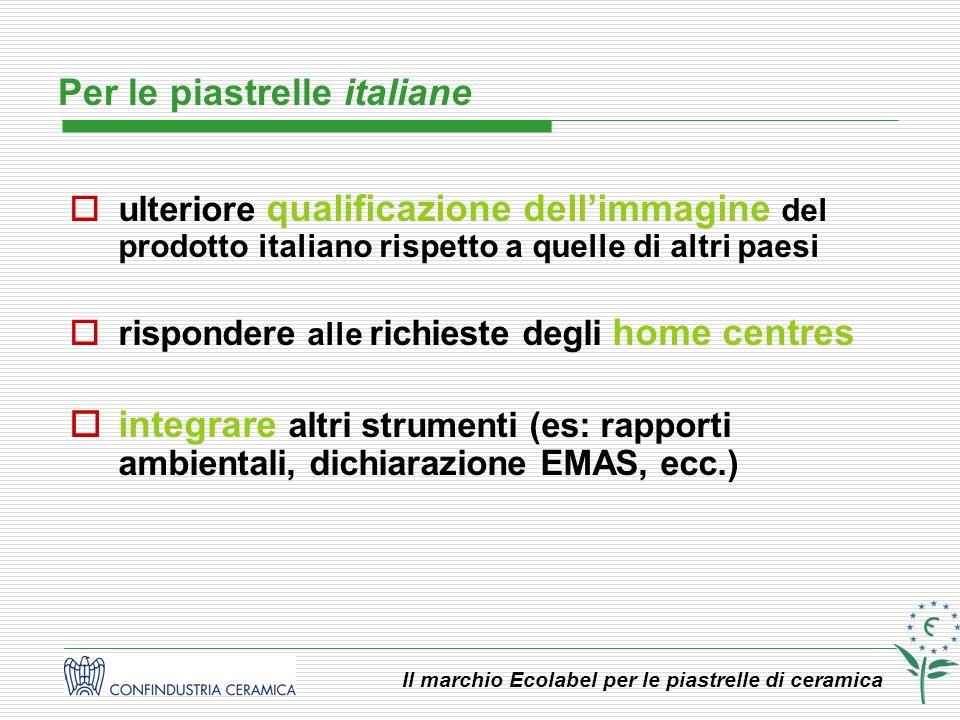 Il marchio Ecolabel per le piastrelle di ceramica ulteriore qualificazione dellimmagine del prodotto italiano rispetto a quelle di altri paesi rispond