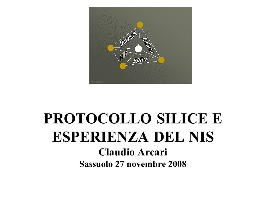PROTOCOLLO SILICE E ESPERIENZA DEL NIS Claudio Arcari Sassuolo 27 novembre 2008