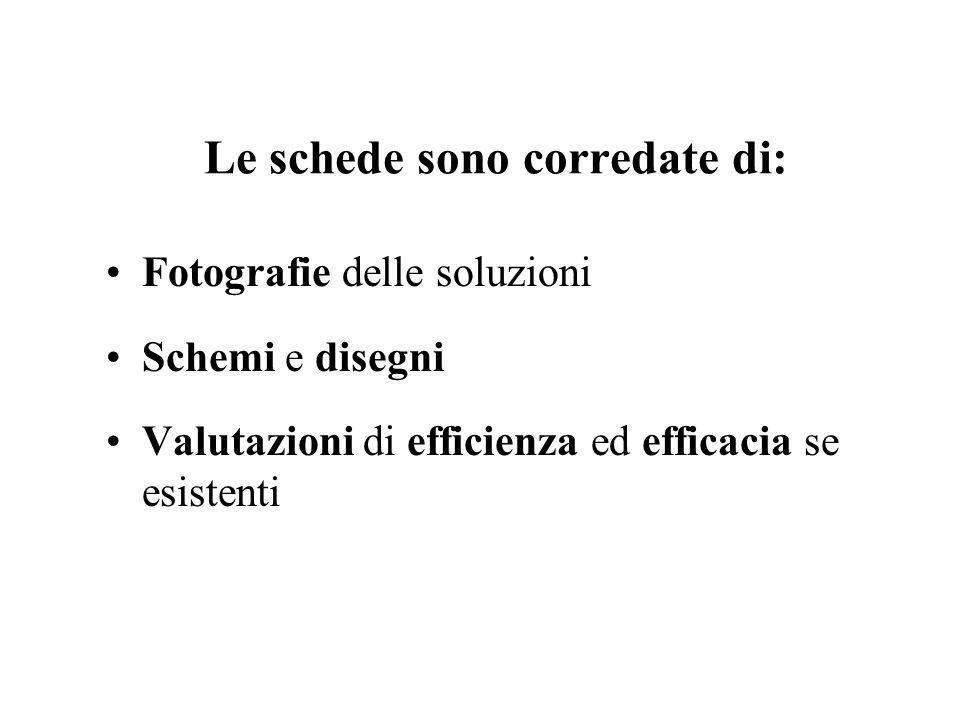 Le schede sono corredate di: Fotografie delle soluzioni Schemi e disegni Valutazioni di efficienza ed efficacia se esistenti