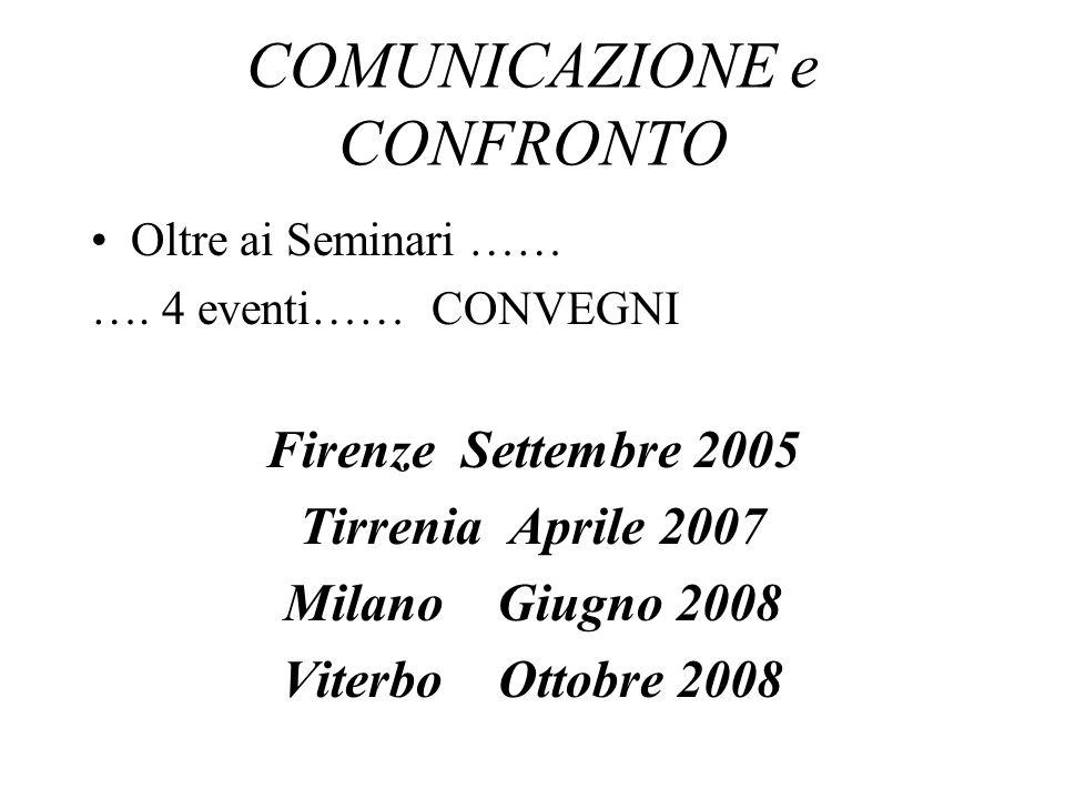 COMUNICAZIONE e CONFRONTO Oltre ai Seminari …… ….