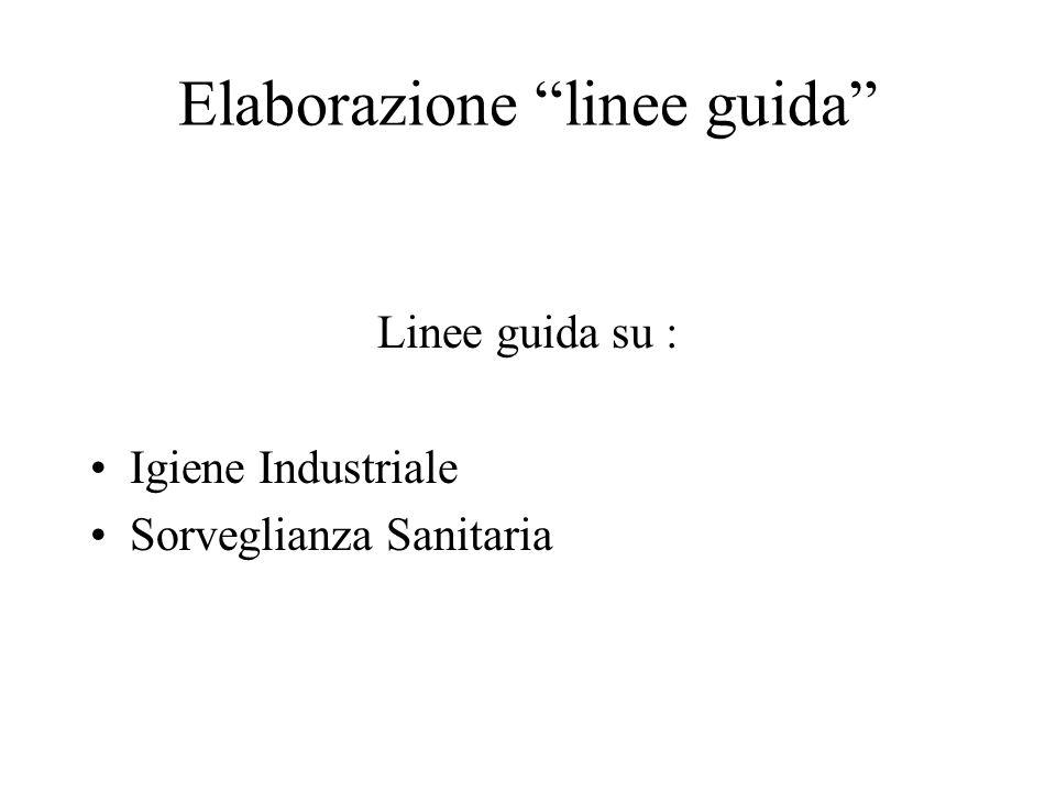 Elaborazione linee guida Linee guida su : Igiene Industriale Sorveglianza Sanitaria
