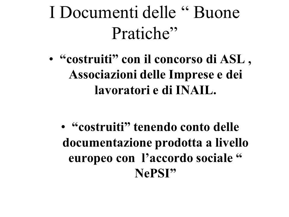 I Documenti delle Buone Pratiche costruiti con il concorso di ASL, Associazioni delle Imprese e dei lavoratori e di INAIL.