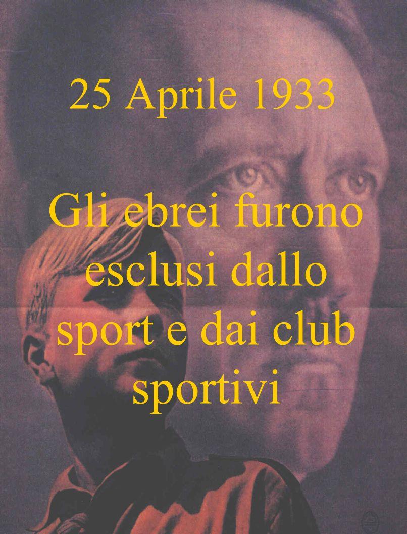 25 Aprile 1933 Gli ebrei furono esclusi dallo sport e dai club sportivi