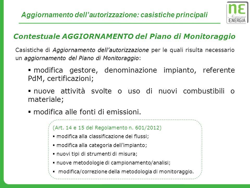 Contestuale AGGIORNAMENTO del Piano di Monitoraggio Aggiornamento dellautorizzazione aggiornamento del Piano di Monitoraggio Casistiche di Aggiornamen